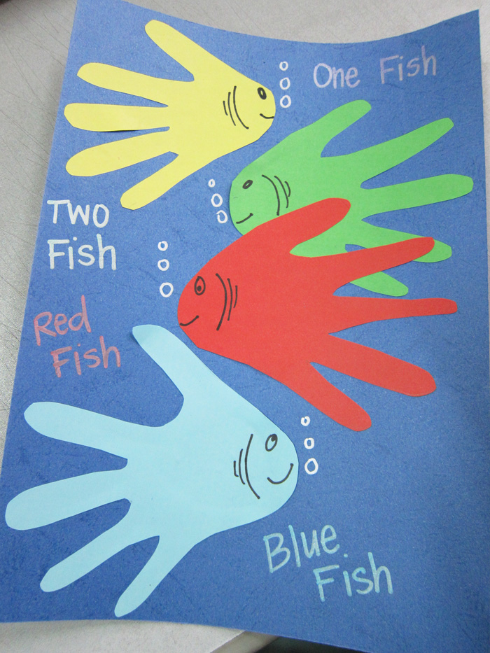 Dr seuss handprint art inspiration one fish two fish for One fish two fish