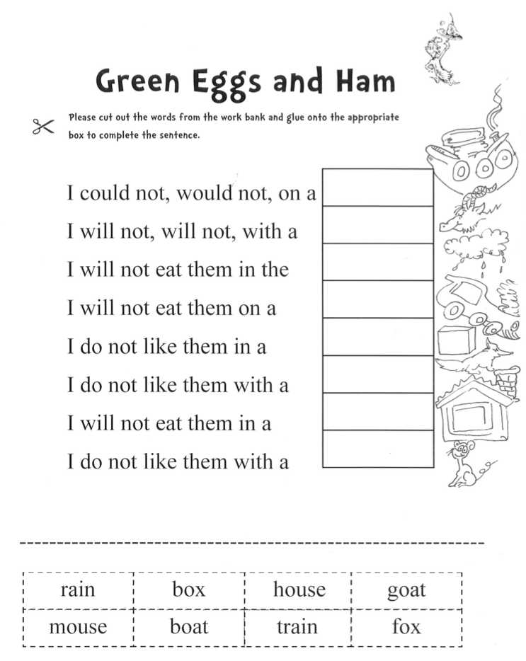 Green Eggs And Ham Worksheet Vanessa 39 S Blog